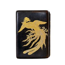 1930's Japanese Mixed Metal Silver Shakudo Business Card Case Gold Phoenix