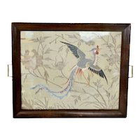 19C Chinese Silk Embroidery Gold Threads Phoenix Panel Wood Carved Tea Tray