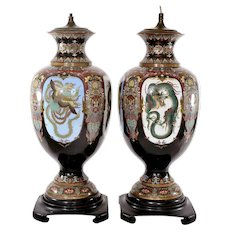 2 Meiji Japanese Cloisonne Enamel Dragon & Phoenix Lamp Vase Attributed Honda