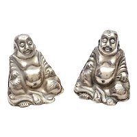 1930's Chinese Solid Silver Salt & Pepper Happy Buddha Figure Marked