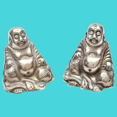 1930's Chinese Sterling Silver Salt & Pepper Happy Buddha Figure Marked