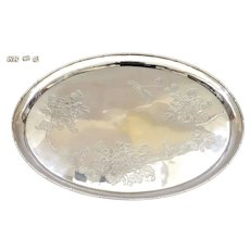 1930's Chinese Solid Silver Plate Platter Tray Chrysanthemum Mk 561 Gram