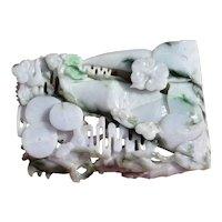 Chinese Lavender Jadeite Jade Carved Carving Dragon Lingzhi Ruyi & Bamboo 2223G