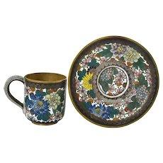 Old Japanese Gilt Cloisonne Enamel Shippo Millefleur Tea Cup Saucer Demitasse