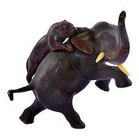 1930's Japanese Bronze Elephant Fighting Tiger Okimono Resin Plastic Tusk
