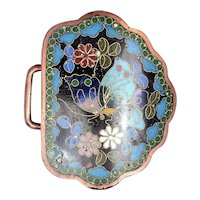 1930's Japanese Goldstone Cloisonne Enamel Belt Buckle with Butterfly