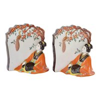 2 Japanese Kutani Porcelain Geisha Bookends Figure Figurine
