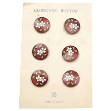 6 Old Japanese Inaba Marked Cloisonne Enamel Shippo Red Buttons Flowers