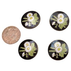 4 Old Japanese Inaba Marked Cloisonne Enamel Shippo Buttons Flowers