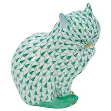 Vintage Hungary Herend Porcelain Green Fishnet Cat Marked