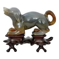 1930's Chinese Agate Hardstone Carved Carving Dog Puppy on Wood Stand