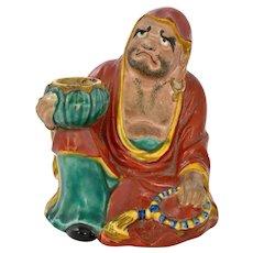Japanese Kutani Porcelain Seated Daruma Damo Buddha Figurine Figure