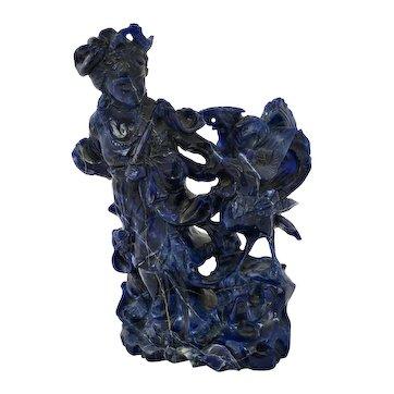 Chinese Lapis Lazuli Carved Carving Lady Phoenix Bird Figure Figurine 930 Gram