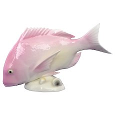 Japanese Noritake Bone China Porcelain Pink Snapper Fish Marked