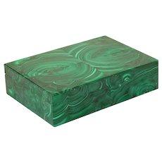 Italian Studio Superego Malachite Veneer Intarsia Box Agate Interior Congo Style