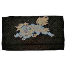 Vintage Japanese Silk Embroidery Textile Kimono Lady Purse Clutch with Shishi Fu Lion