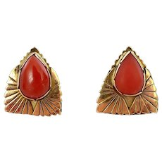 Vintage 14K Gold Natural Red Coral Carved Carving Cabochon Earrings Marked