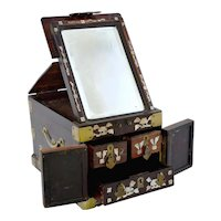 1930's Chinese Hardwood Wood Mother Pearl MOP Inlay Mirror Vanity Chest Box