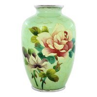 Old Japanese Plique a Jour Cloisonne Enamel Shippo Vase Roses Mint Green Ground