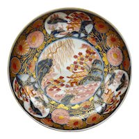 Old Japanese Imari Porcelain Plate Garden Scene Marked