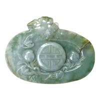 Chinese Jade Jadeite Deep Carved Carving Plaque Plate Coin Calligraphy 567 Gram