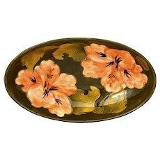 English England Pottery Moorcroft Hibiscus Oval Shaped Bowl Marked