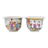 18C Chinese 2 Export Famille Rose Medallion Porcelain Planter Pot Jardiniere