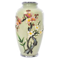 Vintage Japanese Cream Pale Yellow Cloisonne Vase with Plum Blossom