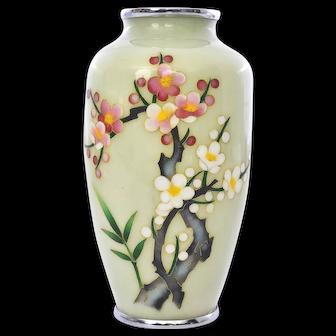 Vintage Japanese Cream Pale Yellow Cloisonne Vase with Plum Blossom