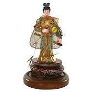 Vintage Chinese Gilt Silver Enamel Lady Warrior Figurine Figure