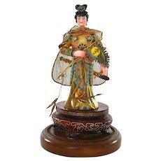 Vintage Chinese Gilt Silver Enamel Lady Warrior Figurine Figure