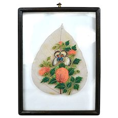 1910's Chinese Bodhi Leaf Wood Frame Hand Painting Butterfly & Flowers