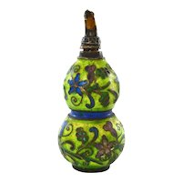 """Chinese Silver Enamel Gourd Shaped Snuff Bottle Marked """"Silver"""""""