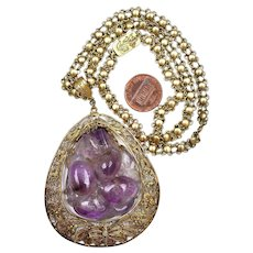 "1930's Chinese Amethyst Quartz Carved Carving Gilt Sterling Silver Necklace Marked ""Silver"""