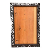 Early 20C Chinese Wood Carved Carving Photograph Picture Frame Plaque Bamboo