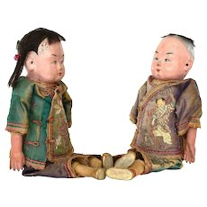 Early 20th Century Chinese Boy & Girl Bisque Doll Silk Embroidery Robe Clothes Dress Mk