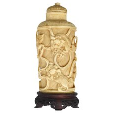 1930's Chinese Bovine Water Buffalo Bone Carved Fu Foo Dog Lion Snuff Bottle