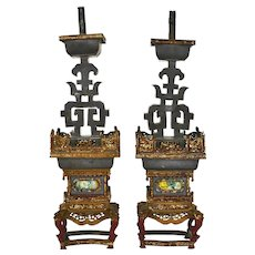 2 Early 20C Chinese Painted Gold Pewter Candlesticks Candelabra Candle Holder