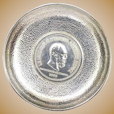 """1883 Russia Rouble Sterling Silver Coin Dish Alexander III Coronation Marked """"Sterling"""""""