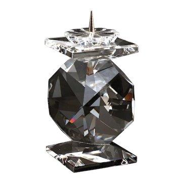 Vintage Swarovski Crystal Glass Candle Holder Candlestick with Original Box