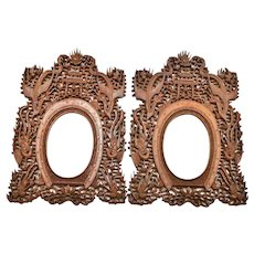 2 Chinese Export Sandalwood Wood Carved Dragon Phoenix Picture Photograph Frame