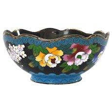 Vintage Japanese Inaba Black Cloisonne Enamel Shippo Floral Millefleur Bowl