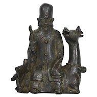 16C Chinese Bronze Shoulo Buddha Immortal Figure Figurine Riding Stag Deer Bird