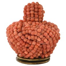 Late 19C Chinese Seed Coral Mandarin Hat Finial Button