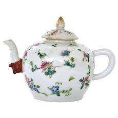 19C Chinese Export Famille Rose Elephant Head Spout Porcelain Teapot Grasshopper