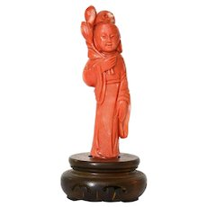 Old Chinese Salmon Coral Carved Carving Lady Figure Figurine on Wood Stand