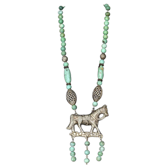 Vintage Turquoise Carved Carving Bead Necklace Silver Plated Horse