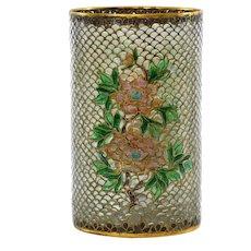 Vintage Chinese Plique a Jour Cloisonne Enamel Floral Scholar Brush Pot Vase