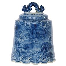 Late 19C Chinese Blue & White Porcelain Dragon Bell