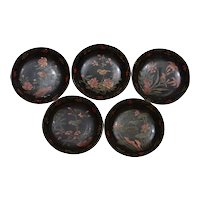 19th Century Set 5 Chinese Hand Painted Lacquer Dish Plate Bird Flower Metal Rim
